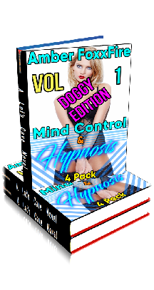 3D Ebook Cover - Mind Control & Hypnosis 4-Pack Vol 1 - Doggy Edition - by Amber FoxxFire